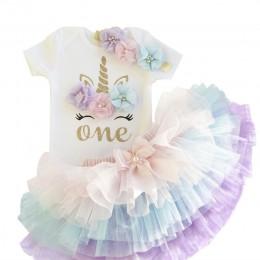 Nowonarodzone dzieci zestaw ubrań dla dziewczynek lato 1 urodziny jednorożec stroje kostium dziewczęcy odzież T-shirt Tutu sukie