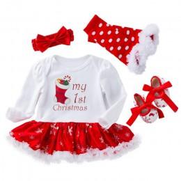 Moje pierwsze święta dziewczyna noworodka ubrania dla noworodków dziewczyna 4 szt. Odzież dla dzieci noworodek ubrania strój świ