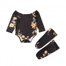 Baby Girl Clothes 3 szt. Zestaw noworodka Off ramię kwiat Romper + 2 getry skarpety stroje ubrania