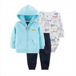 BABY GIRL CLOTHES z długim rękawem z kapturem płaszcz + body bawełna + spodnie nowonarodzony chłopiec zestaw zimowa, jesienna od