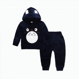 Moda dla dzieci chłopcy dziewczęta odzież z nadrukiem kreskówki garnitury dziecięce aksamitne spodnie bluza z kapturem 2 sztuk/z