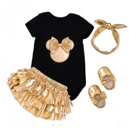 2020 Baby Girl Clothes 4 szt. Zestawy odzieżowe czarne śpiochy bawełniane złote majtki koronkowe spodenki buty pałąk noworodka u