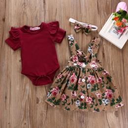 Noworodek dziewczynek ubrania zestawy letnia księżniczka stroje imprezowe Romper sukienka na ramiączkach opaski maluch niemowlę