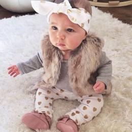 3 szt!! 2019 nowa jesienna zestaw ubranek dla dziewczynki bawełniana koszulka + spodnie + opaska 3 szt. Odzież dla niemowląt now