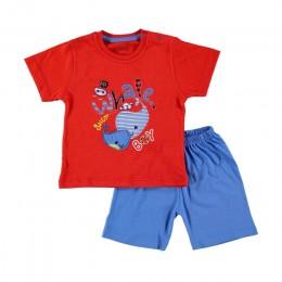 Ebebek HelloBaby zestaw piżam z krótkim rękawem bawełna z krótkim rękawem Cartoon drukowane regularne O-Neck Casual odzież dla d