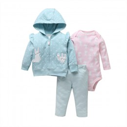 Baby girl clothes cartoon 2019 jesień noworodka strój chłopca z długim rękawem zestawy kurtka z kapturem jednorożec + romper + s