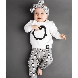 Noworodek ubrania dla dzieci stroje 2019 moda z długim rękawem Penguin t-shirt + spodnie + pałąk 3 sztuk Boys Baby dziewczyny od