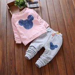 Nowa dziewczynka ubrania gorąca sprzedaż zestawy ubrań dla niemowląt Cartoon bluzy z nadrukami spodnie garnitur 2 szt dla dzieck