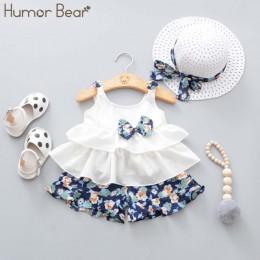 Humor niedźwiedź nowe letnie dziecko dziewczyna ubrania na ramiączkach koszula z kokardą + spodenki z motywem kwiatowym + modny