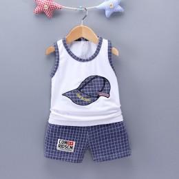 2019 dzieci bawełna odzież Cute Baby Boy dziewczyna haftowana czapka kamizelka szorty 2 sztuk/zestaw niemowlę Cartoon modne ciuc