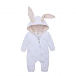 Wiosna jesień noworodka ubrania dla dzieci Bunny śpioszki dla niemowląt bawełniana bluza z kapturem dziewczynka noworodek Onesie