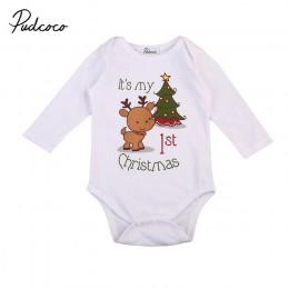 Boże narodzenie baby romper noworodek niemowlę chłopcy dziewczęta cartoon deer świąteczny nadruk drzewa długie rękawy romper jes