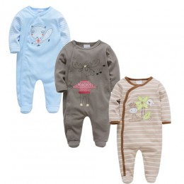 2019 3 4 sztuk/partia lato Baby Boy roupa de bebes kombinezon dla noworodka bawełniana piżama z długim rękawem 0-12 miesięcy paj