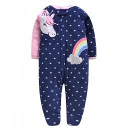 2019 unicornio ubranka dla niemowląt, miękkie polary dziecięce jednoczęściowe romper pijama noworodki niemowlęce chłopięce ubran