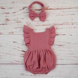 Bawełna organiczna dziewczynka ubrania lato nowa podwójna gaza dzieci wzburzyć Romper kombinezon pałąk zakurzony różowy Playsuit