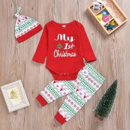 Nowy Xmas niemowlę Baby Boy śpioszki dziewczęce topy + spodnie Christmas Deer stroje zestaw z długim rękawem zimowe ubrania T