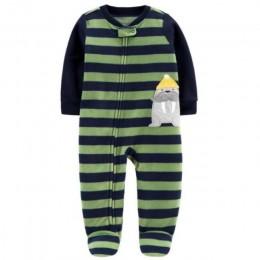 Nowonarodzone dziecko chłopiec jesień-zima polar odzież wspinaczkowa 3-12M dzieci Footed piżama długi rękaw niemowlę dziewczynki