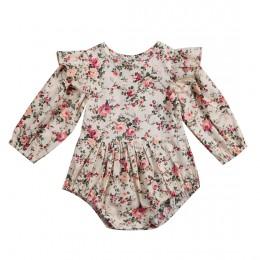 Kwiat niemowlę maluch dziecko śpioszki dziewczęce Vintage z długim rękawem Neborn śpioszki dziewczęce kombinezon wiosna jesień u