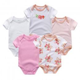 5 sztuk/partia koszulka uniseks jakości śpioszki dla niemowląt z krótkim rękawem Cottom O-Neck 0-12M powieść nowonarodzone chłop