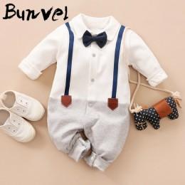 Bunvel Baby pajacyki dziecięce Patchwork Baby Girl ubrania biały krawat dziecko zimowe ubrania chłopcy pajacyki dzieci kostium d