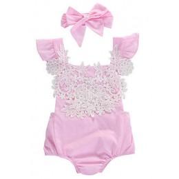 2 sztuk noworodka dziewczynek śpioszki bez rękawów koronki kombinezon w kwiaty Playsuit stroje Sunsuit