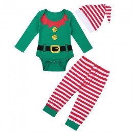 Wysokiej jakości Baby Boy Girl jesień boże narodzenie xmas ubrania zestaw maluch chłopcy, dziewczynki, śpioszki Pant Hat stroje