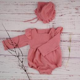 Jesień dziewczynka ubrania bawełniane z długim rękawem Baby Romper dla noworodki zimowe butiki pościel Playsuit rekwizyty fotogr