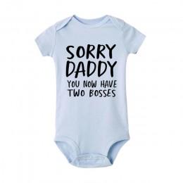 Przepraszam tatuś masz teraz dwóch szefów drukuj śpioszki dla niemowląt letnie ubrania dla dzieci Romper niemowlę noworodek chło