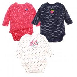 3 sztuk/partia noworodka body zestaw 100% bawełna Boys Baby dziewczyny piżamy ubrania dla niemowląt bielizna z długim rękawem dl