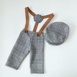 0-1M noworodków ubrania dla dzieci dziewczyna chłopiec kapelusz Plaid kostium mały Gentleman noworodka fotografia rekwizyty Phot