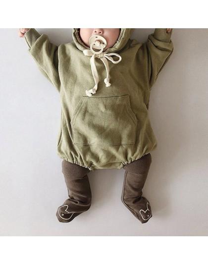 Zimowe jesienne body dla niemowląt chłopca dziewczynki z długim rękawem kapturem luźne przewiewne