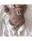 MILANCEL jesienne body niemowlęce małe niedźwiedzie uszy chłopięce body aksamitne dziecięce body z kapturem