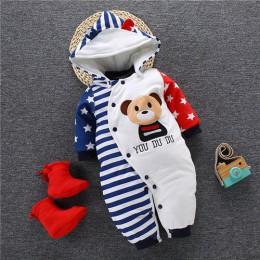 Zimowy pajacyk dla chłopca dziewczynki niemowląt ciepły wygodny lekki z kapturem kolorowy modny