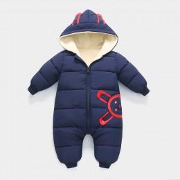 Nowa zima Plus aksamitne ciepłe kombinezony dziecięce ubranko niemowlęce noworodek Snowsuit chłopiec ciepłe Romper dół bawełna d