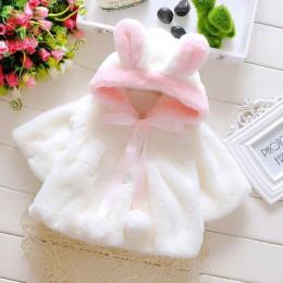 Dziewczynek płaszcz zimowa wiosna dziewczynek księżniczka płaszcz kurtka ucho królika z kapturem codzienna odzież wierzchnia dla