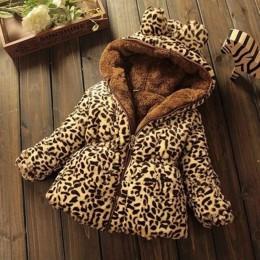 Zimowy maluch dziewczynek ciepła kurtka z kapturem Leopard odzież wierzchnia dla dzieci kurtka ubrania dla dzieci płaszcze dla n