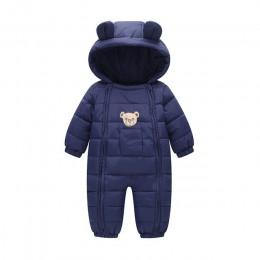 2019 Snowsuit ubranka dla dzieci odzież na śnieg bawełny wyściełane jeden kawałek ciepłe kurtki kombinezony Romper dzieci zima k