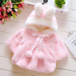 Niemowlę noworodek dziewczynka płaszcz płaszcz z królika dziewczynka kurtka dla dzieci z kapturem kreskówka dla dzieci płaszcz d