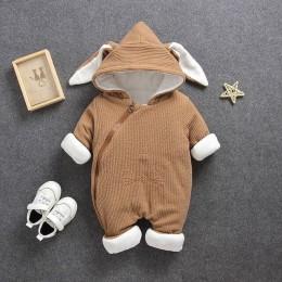 2019 jesień zima płaszcz kombinezon odzież dla niemowląt noworodka Snowsuit chłopiec ciepłe Romper puchowe bawełniane kurtki dzi