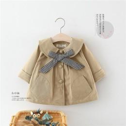 Noworodek noworodka wiatrówka dla dzieci płaszcz Plaid muszka odzież dla małej dziewczynki Khaki różowy kolor Jaqueta Infantil b