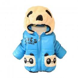 CHCDMP dziewczynek chłopców kurtka zimowa ciepła gruba bawełna rysunek przedstawiający pandę z kapturem dzieci płaszcz dzieci pi
