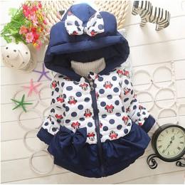 Dla dzieci dziewczyny chłopcy kurtki dla dzieci odzież dla dzieci z kapturem płaszcze 2018 zima maluch ciepłe Cartoon Minnie Mic