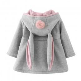 Zimowa wiosna dziewczynek długi płaszcz z rękawami kurtka ucho królika z kapturem codzienna odzież wierzchnia jesień zima dzieck