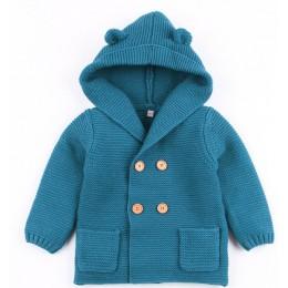 Boys Baby dziewczyny dziergany sweter zimowe ciepłe noworodka swetry moda z długim rękawem z kapturem płaszcz kurtka dzieci odzi