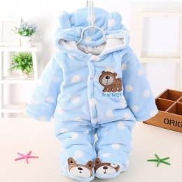 Dziecko Plus aksamitna grubszy płaszcz odzież zimowa body noworodka ciepłe romper odzież na śnieg kombinezony dla dziewczyny baw
