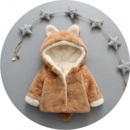 Bear Leader znosić płaszcze ubrania zimowe nowe z torbą pogrubienie dziecko bawełniany płaszcz śliczne uszy królika z kapturem d