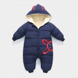 2019 noworodki ubranko niemowlęce kombinezon zimowy Snowsuit Boy Warm Plus velvet Romper dół bawełna dziewczyna odzież niemowlę