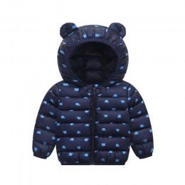 Dziecko w dół płaszcze niemowlę odzież na śnieg płaszcze z kapturem dziewczynki chłopcy nadruk kreskówkowy kurtki jesienno-zimow