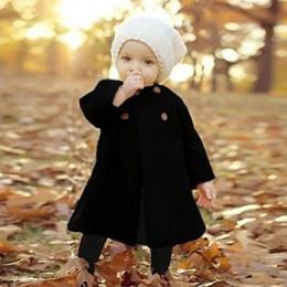 Nowe mody dziewczyny dwurzędowy ciepły płaszcz kurtka dziecko jednolity kolor długi odcinek płaszcz odzież dziecięca znosić kurt
