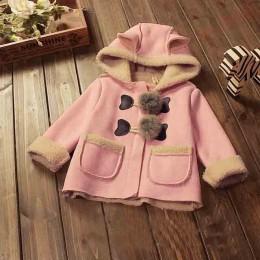 BibiCola dziecięce kurtki zimowe dla dziewczynek z kapeluszem dla dziewczynek chłopców noworodka parka futro z kapturem kurtka d